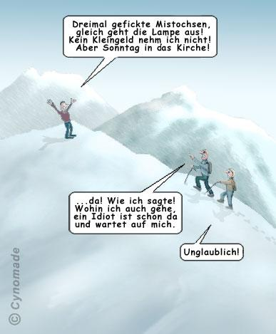 Cartoon: Hartes Schicksal! (medium) by moonman tagged paranoia,wahnsinn,umzingelt