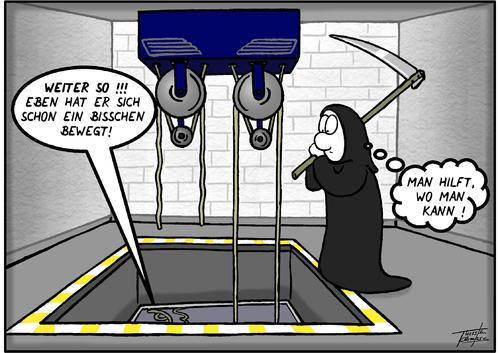 Top Fahrstuhl von Thorsten Klomfass | Philosophie Cartoon | TOONPOOL UV04