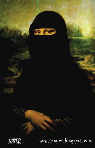 Cartoon: La Gioconda Mona Lisa (medium) by Nayer tagged la,gioconda,mona,lisa,da,vinci,islam,conflict,civilizations,terrorism