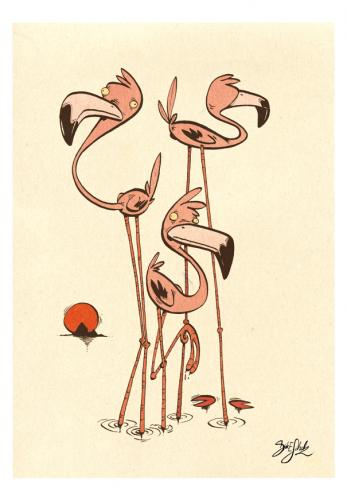 Cartoon: 3 Flamingos (medium) by Dirk ESchulz tagged dirk,verrücktheit,exzentrik,bizarr,schrullig,sonderbar,spleen,andersartig,anders,abweichend,skurrilität,verschroben,absonderlich,kautzig,eigenwillig,flamingo,illustration,tier,tierwelt,vogel,ornithologie,vogelkunde,federvieh,tierart