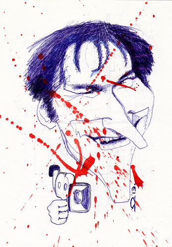Cartoon: quentin tarantino (medium) by zed tagged quentin,tarantino,knoxville,usa,film,violence,producerdirector,screenwriter