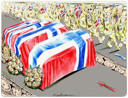 Cartoon: Still_in_Afghanistan (medium) by firuzkutal tagged usa,afgahanistan,norway,isaf,soldiers,terror,pakistan,talaban,death,coffin,military