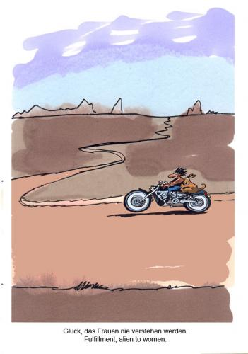 Cartoon: Route 66 (medium) by Butschkow tagged route,66,relationship,partnerschaft,motorrad,bike