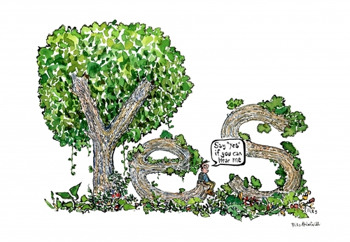 Cartoon: Nature Says Yes (medium) by Frits Ahlefeldt tagged nature,ecology,biodiversity,environment,forest,trees,communication,relationship,wellness