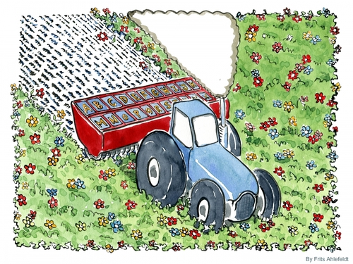 Cartoon: Words (medium) by Frits Ahlefeldt tagged civilization,education,words,alphabet,meadow,grass,understanding,knowledge,tractor