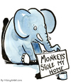 Cartoon: Monkeys stole its home (small) by Frits Ahlefeldt tagged animal,elephant,beggar,refugee,home,runaway