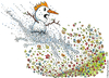 Cartoon: Snow man attacks spring (small) by Frits Ahlefeldt tagged cartoon,drawing,snow,winter,may,april,flowers,nature,attack,king,angry