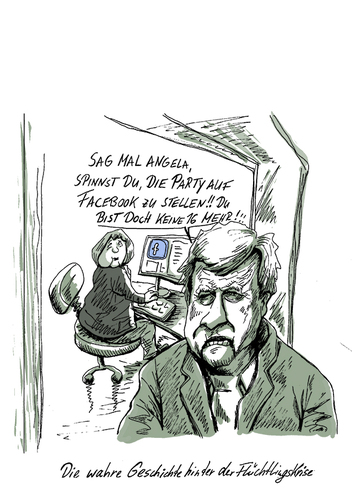 Cartoon: diewahregeschichtehinterderflüc (medium) by Parallelallee tagged facebook,seehofer,merkel,flüchtlingskrise
