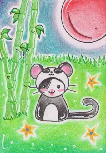 Cartoon: Kitty or Panda (medium) by Metalbride tagged traiding,card,widget