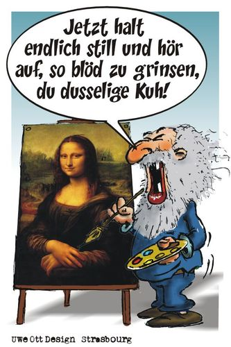 Cartoon: im Atelier (medium) by BARHOCKER tagged uwe,ott,leonardo,da,vinci,atelier,mona,lisa