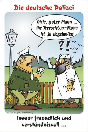 Cartoon: Personen-Kontrolle (medium) by BARHOCKER tagged ausländer,polizist,touristen,visum