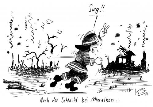 Cartoon: Marathon (medium) by Stuttmann tagged marathon,marathon,sieg,feuerwehr,schlacht