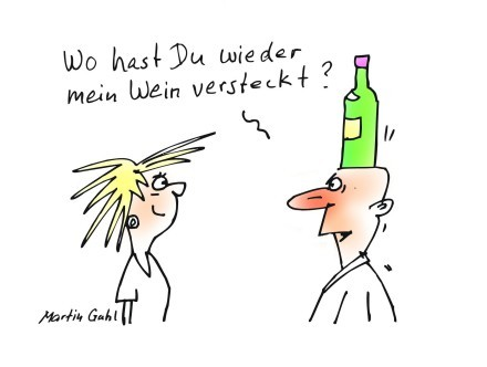 Cartoon: alkohol wein man frau lady man (medium) by martin guhl tagged alkohol,wein,man,frau,lady,wine,relations
