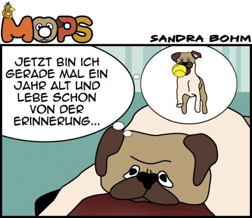 Cartoon: Down (medium) by Sandra tagged mops,hund,dog,deprimiert,down,past