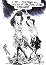 Cartoon: CAMERON AND EASTWOOD (small) by Tim Leatherbarrow tagged david cameron clint eastwood dirty harry riots