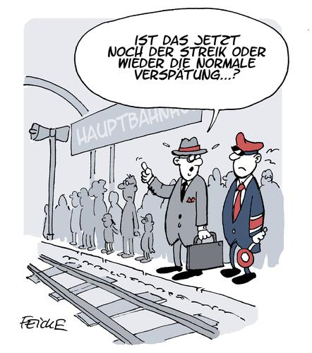 Cartoon: Bahnstreik (medium) by FEICKE tagged deutsche,bahn,lokfuehrer,tarif,verhandlung,streik,personal,verspätung,spät,zug,bahnhof,deutsche,bahn,lokfuehrer,tarif,verhandlung,streik,personal,verspätung,spät,zug,bahnhof