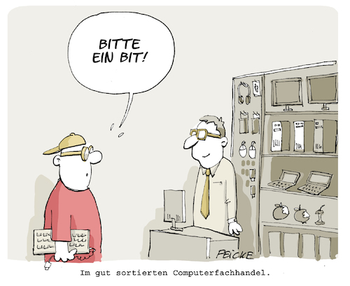 Cartoon: Bitte ein Bit (medium) by FEICKE tagged bier,bit,computer,wortspiel,pc,nerd,bier,bit,computer,wortspiel,pc,nerd