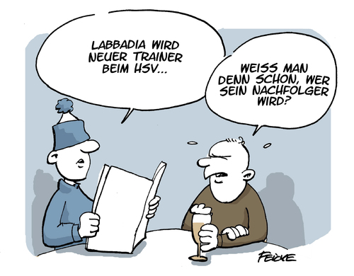 Cartoon: Bruno Labbadia beim HSV (medium) by FEICKE tagged bruno,labbadia,fussball,hsv,hamburger,sportverein,posse,trainer,entlassung,einstellung,abstieg,bruno,labbadia,fussball,hsv,hamburger,sportverein,posse,trainer,entlassung,einstellung,abstieg