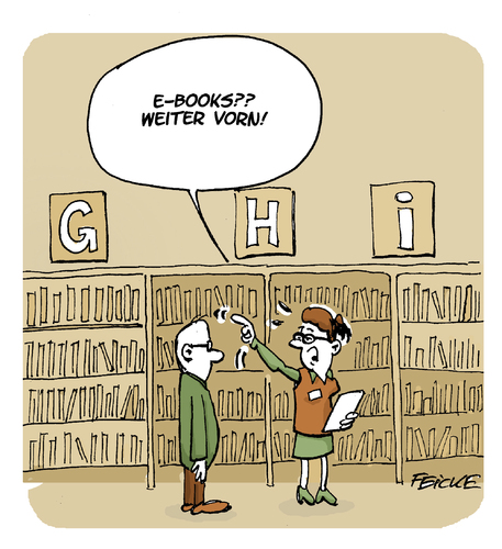 Cartoon: E-books (medium) by FEICKE tagged buch,literatur,roman,lesen,ebook,digital,buch,literatur,roman,lesen,ebook,digital