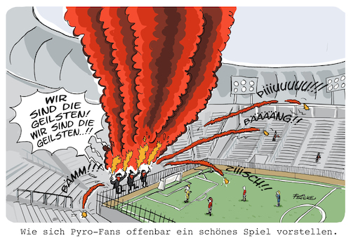Cartoon: Pyro Fans (medium) by FEICKE tagged fussball,fußball,fan,ultra,hooligan,pyro,fussball,fußball,fan,ultra,hooligan,pyro