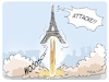 Cartoon: Macrons Attacke (small) by FEICKE tagged macron,weltraum,verteidigung,sterne,rakete