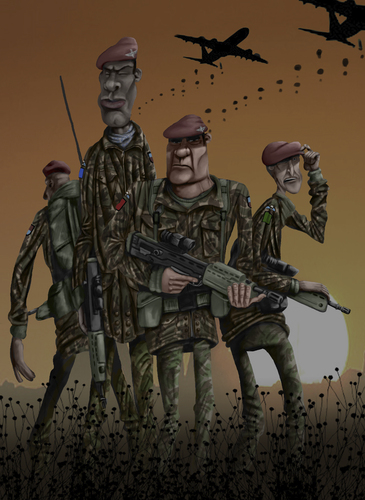 Cartoon: Least we forget 11-11-11 (medium) by jonmoss tagged paratroopers,illustration,remembrance,day,11