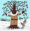Cartoon: oak is ok (small) by Sergei Belozerov tagged tree,oak,coat,winter,hare