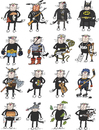 Cartoon: The Cats (small) by Sergei Belozerov tagged mushroom,indian,terminator,batman,boxer,pirate,music,oak,mouse