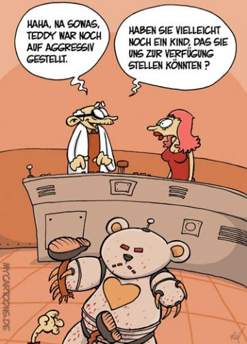 Cartoon: Das Teddy Experiment (medium) by mil tagged teddy,roboter,robobär,experiment,test,fehler,kind,wissenschaftler,opfer,mutter