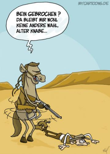 Cartoon: Gnadenschuss (medium) by mil tagged pferd,cowboy,beinbruch,gnadenschuss,mil,