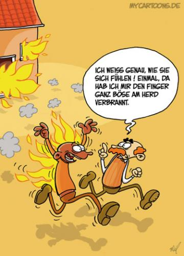 Cartoon: Verbrannt (medium) by mil tagged feuer,brand,brandopfer,schmerzen,mil