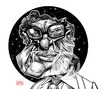 Cartoon: Isaac Asimov (small) by Russ Cook tagged isaac,asimov,writer,science,fiction,russ,cook,caricature,portrait,illustration,cartoon,black,and,white,drawing,wacom,cintiq,photoshop,zeichnung,karikatur,robot,foundation,series