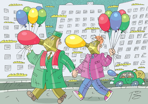 Cartoon: without the words (medium) by Sergey Repiov tagged ecology,balloon,air,respirator