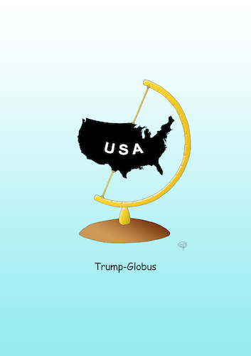 Cartoon: Trump-Globus (medium) by Erwin Pischel tagged donald,trump,nationalismus,chauvinismus,protectionismus,isolationismus,wirtschaft,cartoon,karikatur,jobs,arbeitsaplätze,national,international,geld,pischel,us,usa