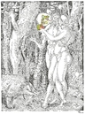 Cartoon: The Wood-Worm in the Apple (small) by Erwin Pischel tagged albrecht dürer adam and eve und eva apfel apple schlange snake dns dna gentechnologie gentechnology pischel