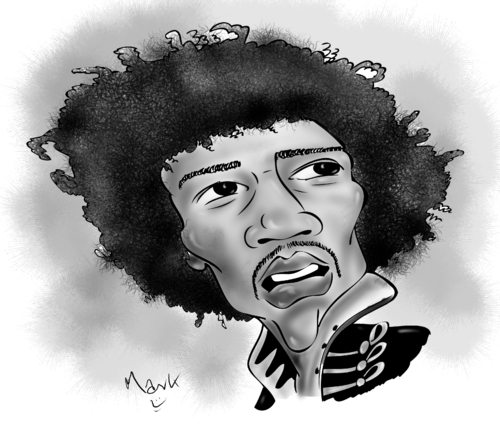 Cartoon: Jimi Hendrix (medium) by Mark Anthony Brind tagged mark,brind,jimi,hendrix,caricature