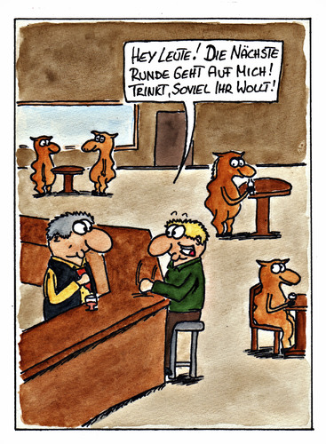 Cartoon: Runde (medium) by spass-beiseite tagged runde,kneipe,bar,barkeeper,glas,bier,lama,afrika,kamel,höcker,beiseite,spass,unterhaltung,panel,fun,illustration,design,pointe,kunst,comicstrips,comictagebuch,tagebuch,comic,cartoons,cartoon,witz,bildwitz