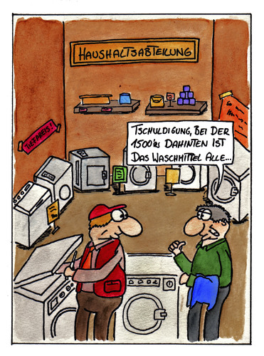 Cartoon: Waschmittel (medium) by spass-beiseite tagged wasachmittel,waschmaschine,wäsche,waschen,service,mitarbeiter,angestellter,beiseite,spass,unterhaltung,panel,fun,illustration,design,pointe,kunst,comicstrips,comictagebuch,tagebuch,comic,cartoons,cartoon,witz,bildwitz