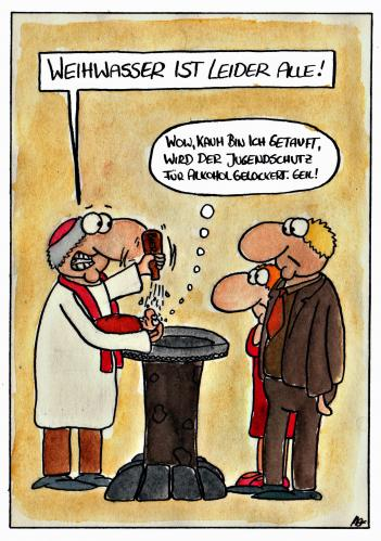 Cartoon: Weihwasser (medium) by spass-beiseite tagged weihwasser,taufe,kirche,pfarrer,wasser,kirchlich,bibel,beiseite,spass,unterhaltung,panel,fun,illustration,design,pointe,kunst,comicstrips,comictagebuch,tagebuch,comic,cartoons,cartoon,witz,bildwitz