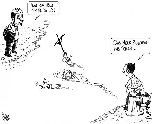 Cartoon: Papst in Nahost (medium) by swen tagged papst,benedikt,benedict,pope,israel,nahost,palaestine