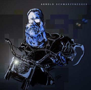 arnold schwarzenegger terminator. Cartoon: Arnold Schwarzenegger