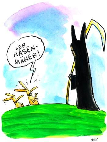 Cartoon: Angsthasen (medium) by ari tagged ostern,dead,hare,tod,hasen,easter,plikat,sensenmann