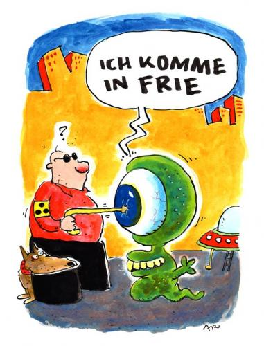 Cartoon: Ich komme (medium) by ari tagged visitor