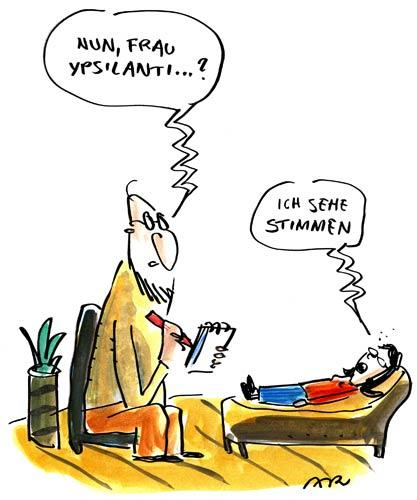Cartoon: Ypsilanti (medium) by ari tagged woman,man,psychiatrist,ypsilanti,frau,mann,psychiater,politik,partei,wahl