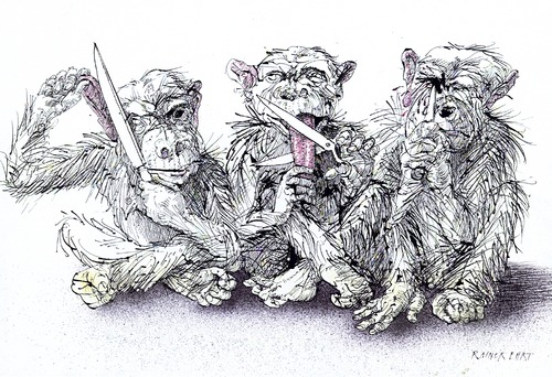 Cartoon: three monkeys (medium) by Rainer Ehrt tagged gag,communication,kommunikation,tierisch,tier,monkey,ape,affe