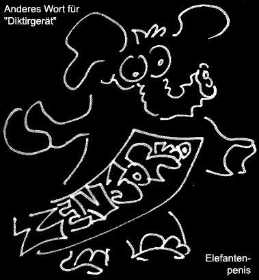 Cartoon: Elefantenpenis (medium) by Newbridge tagged elefant,gerät,diktiergerät