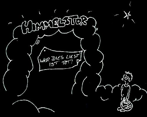 Cartoon: Himmelstor (medium) by Newbridge tagged tor,gott,himmel,petrus,schrift,glauben