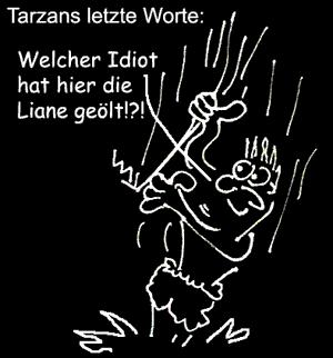 Cartoon: Letzte Worte (medium) by Newbridge tagged tarzan,liane,öl,dschungel