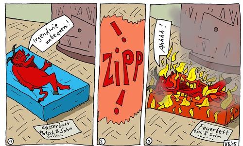 Wasserbett comic  behaglich von Leichnam | Berühmte Personen Cartoon | TOONPOOL