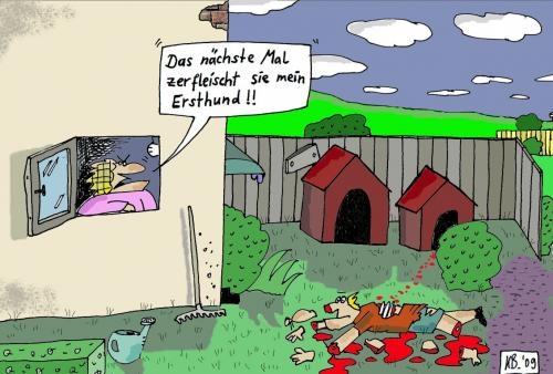 Cartoon: Drohung (medium) by Leichnam tagged hund,splatter